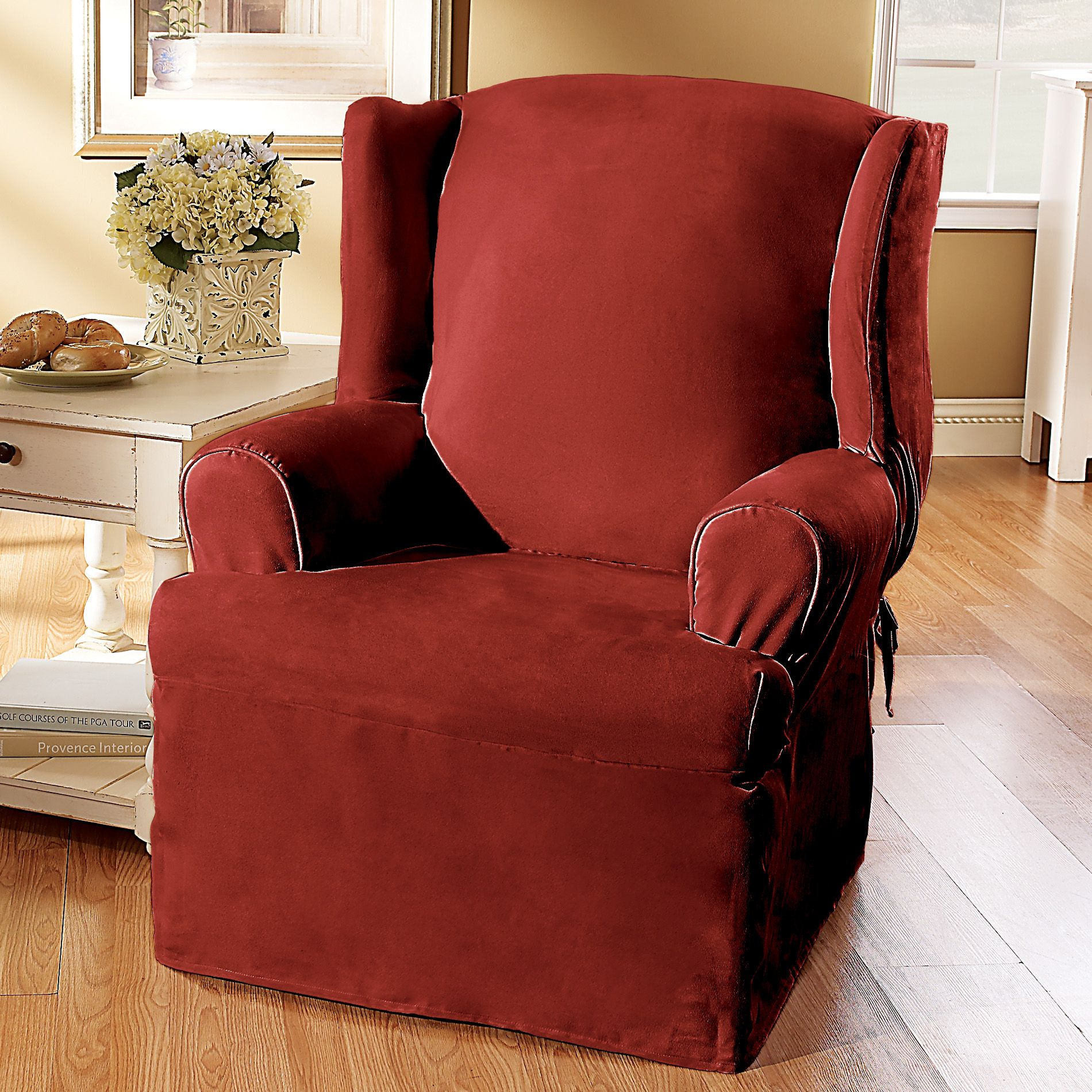 red wingback chair slipcover waiting chairs sure fit cotton duck wing