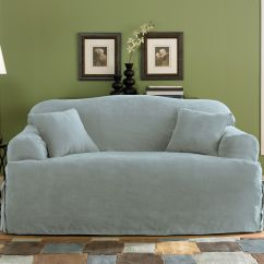 Washing Faux Suede Sofa Covers How To Fix The Leather Sure Fit Soft Smoke Blue T Cushion Slipcover
