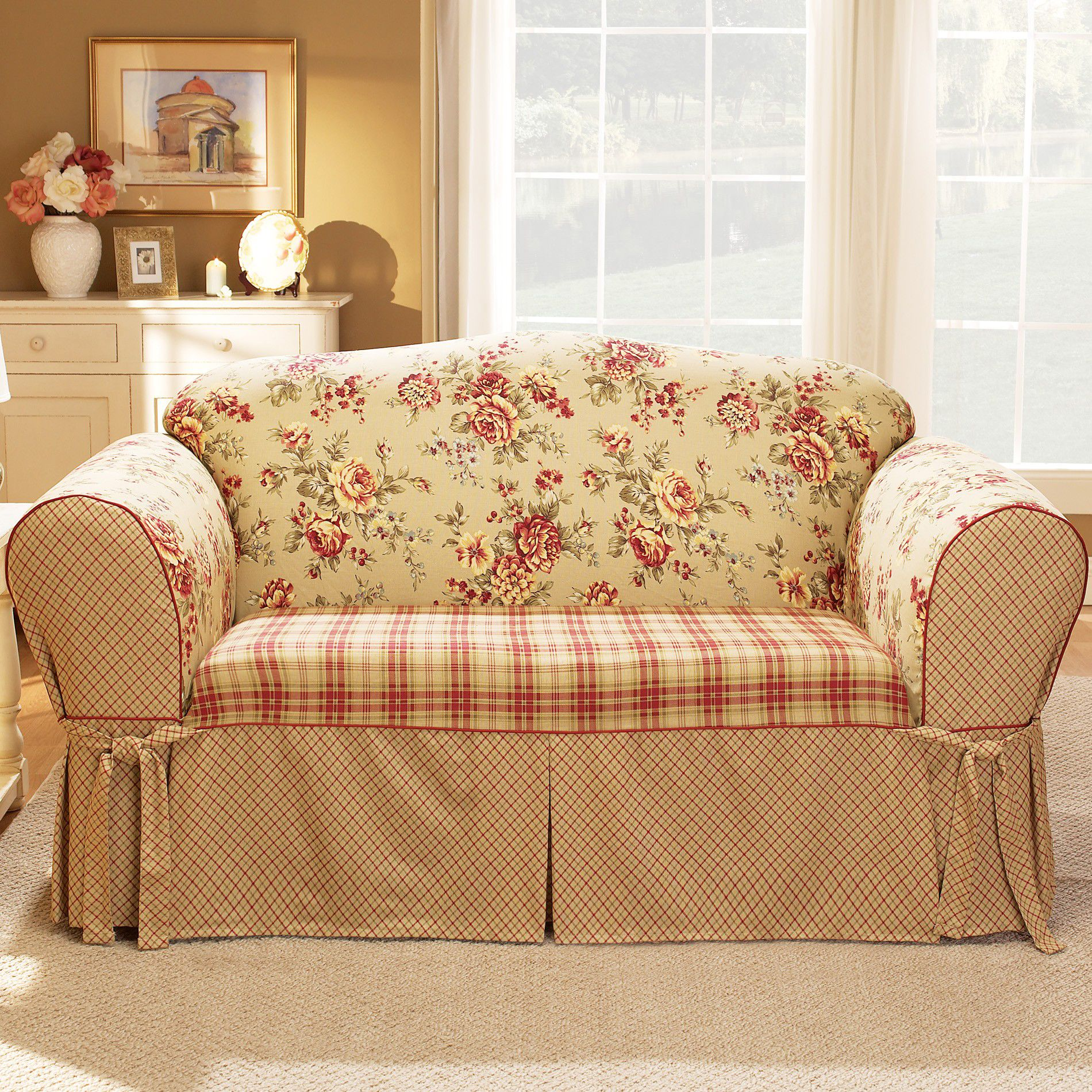 flower sofa covers bradington young sheffield leather sure fit slipcovers country floral shop your way