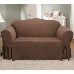Faux Suede Sofa Cover Wrought Iron Table Base Sure Fit Loveseat Slipcover Chocolate Shop