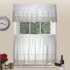 Kitchen Tier Curtains Adding Shelves To Cabinets Country Living Heirloom Crochet Pair
