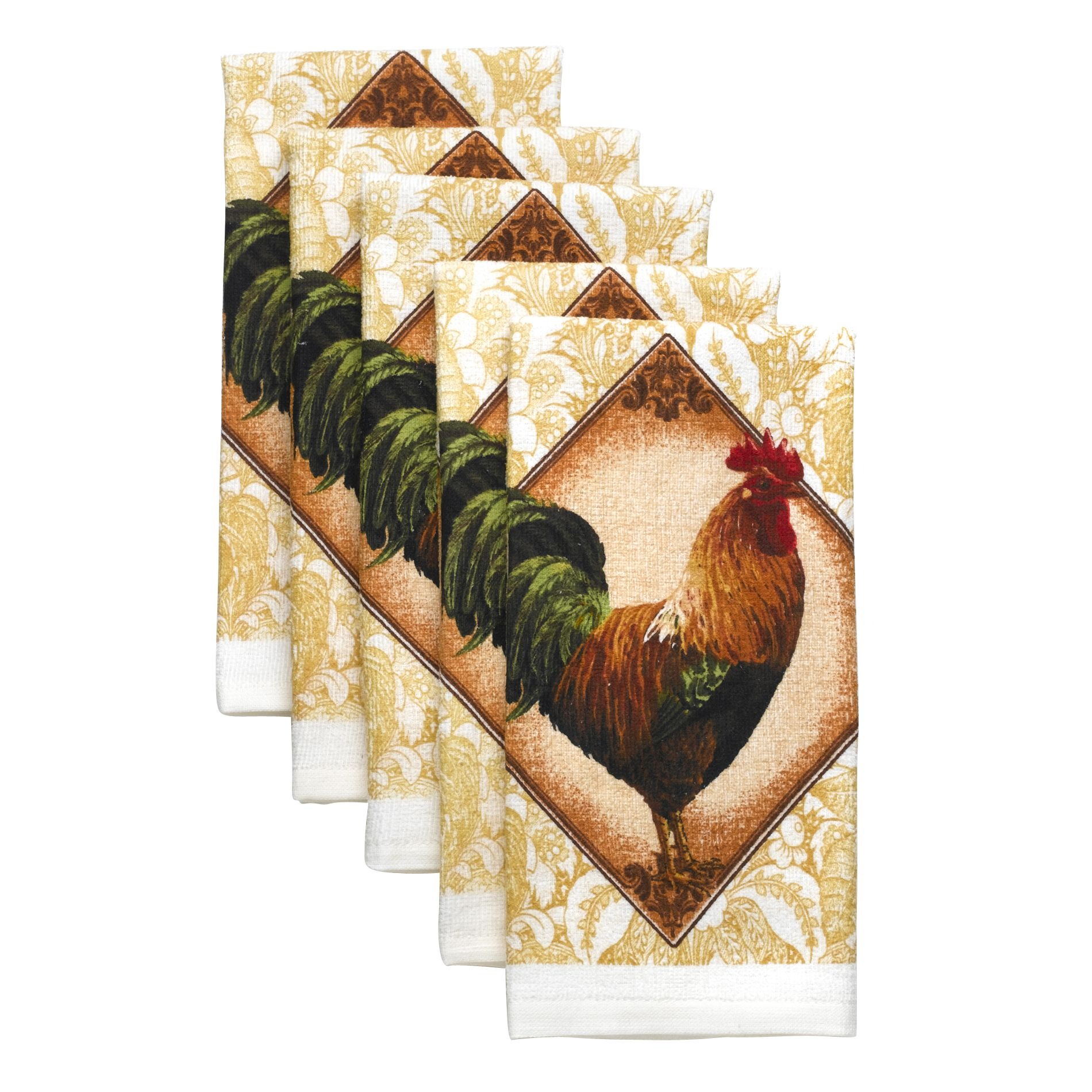 Essential Home Rooster Tapestry 5 Pack Kitchen Towel