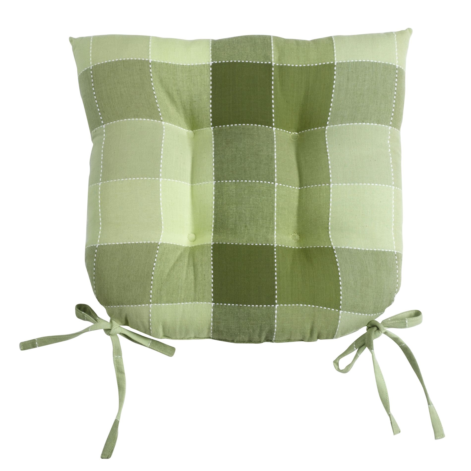 Essential Home Sage Plaid Chair Pad