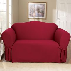 Sure Fit Cotton Duck Sofa Slipcover Sectional With Ottoman Set Claret Loveseat Home