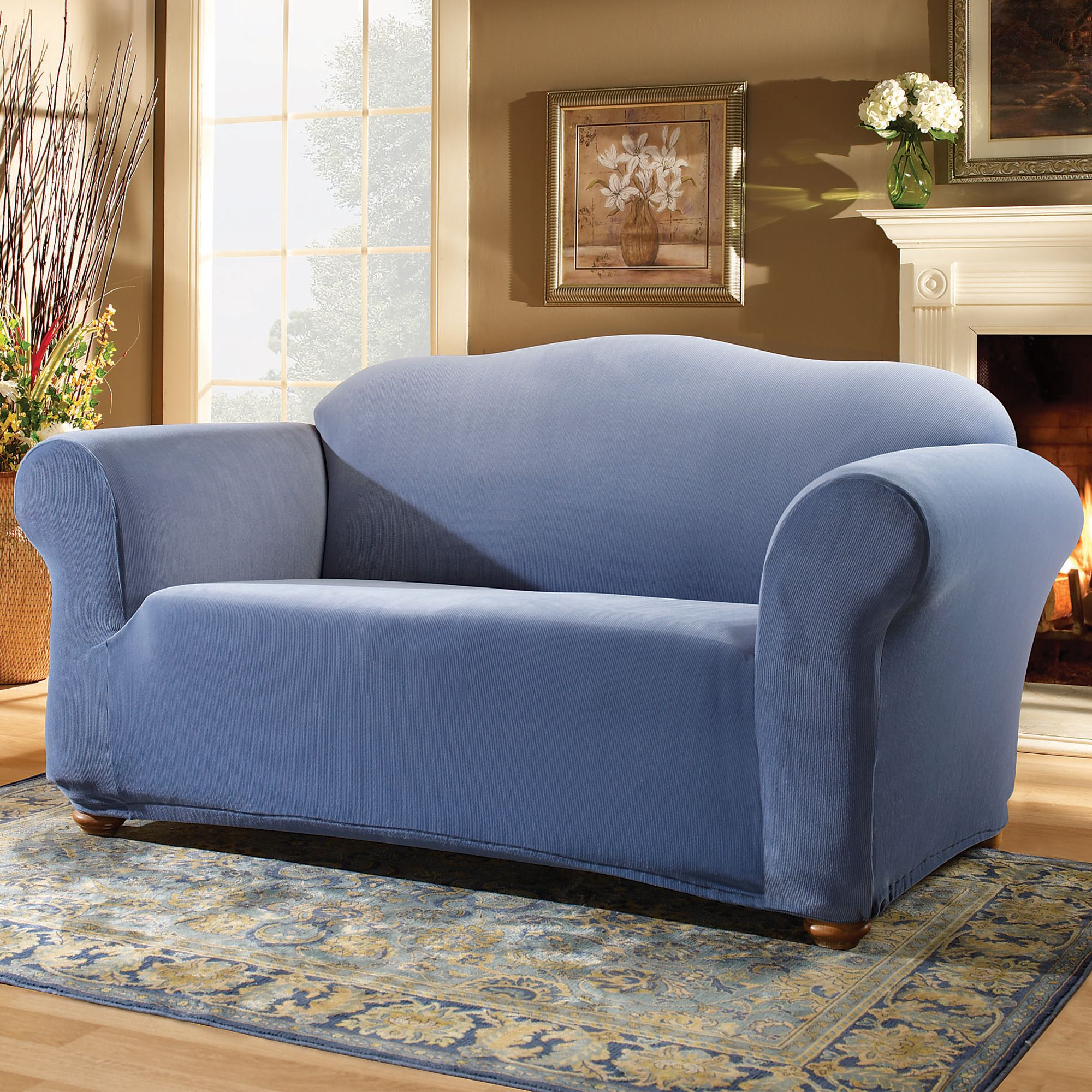 sure fit soft suede sofa slipcover antique victorian value smoke blue t cushion loveseat