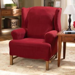 Red Wingback Chair Slipcover Hanging Uk Sure Fit Stretch Royal Diamond Sage Wing