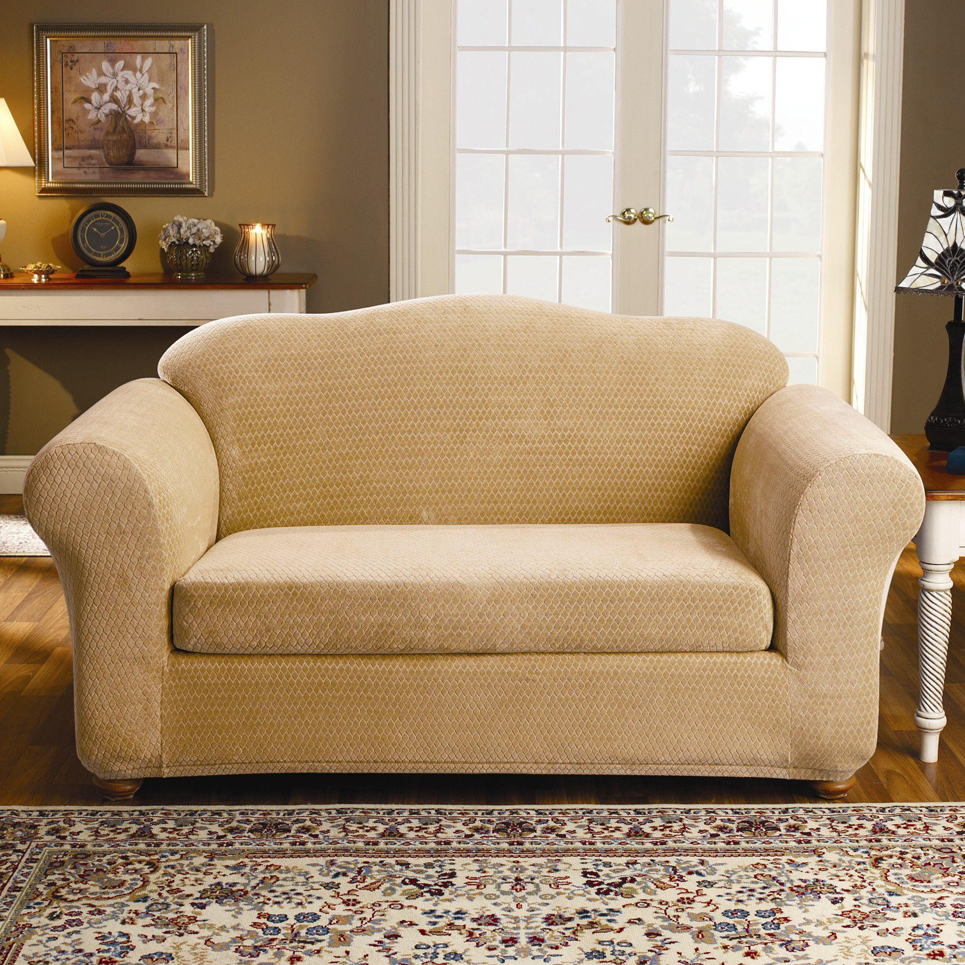 sofa covers at kmart 4 seater bed leather sure fit stretch royal diamond wine loveseat slipcover