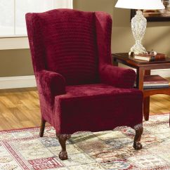 Red Wingback Chair Slipcover Exercise While Sitting In Office Sure Fit Cotton Duck Wing