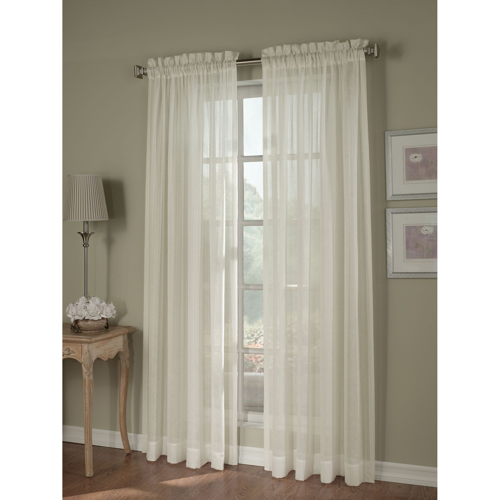 Jaclyn Smith Ivory Crinkle Stripe Sheer Window Panel