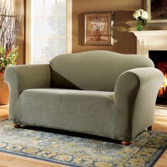 Sage Sofa Slipcovers Queen Sleeper Mattress Dimensions Sure Fit Loveseat Slipcover Stretch Pearson Shop
