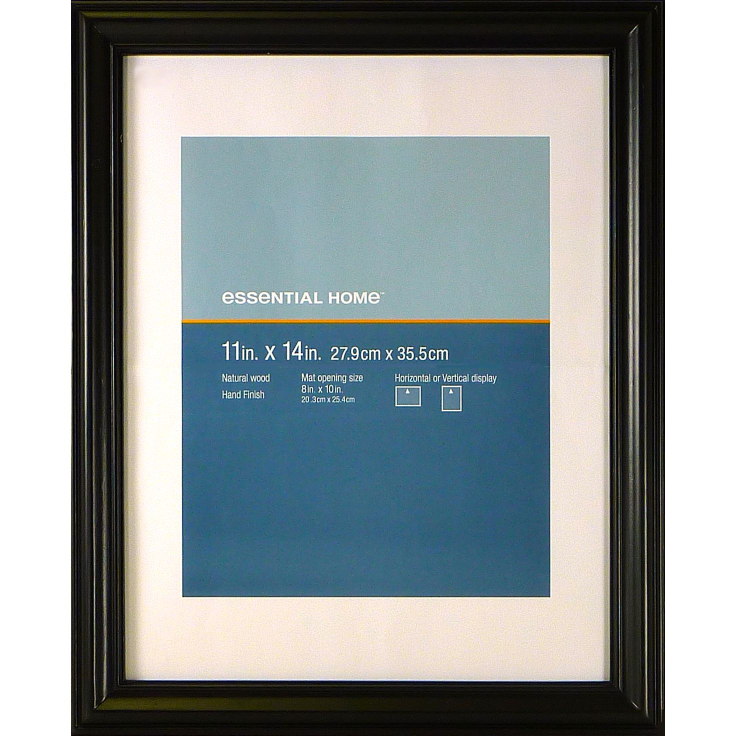 Essential Home Black Single Flute 11 X 14 Frame - Decor Decorative