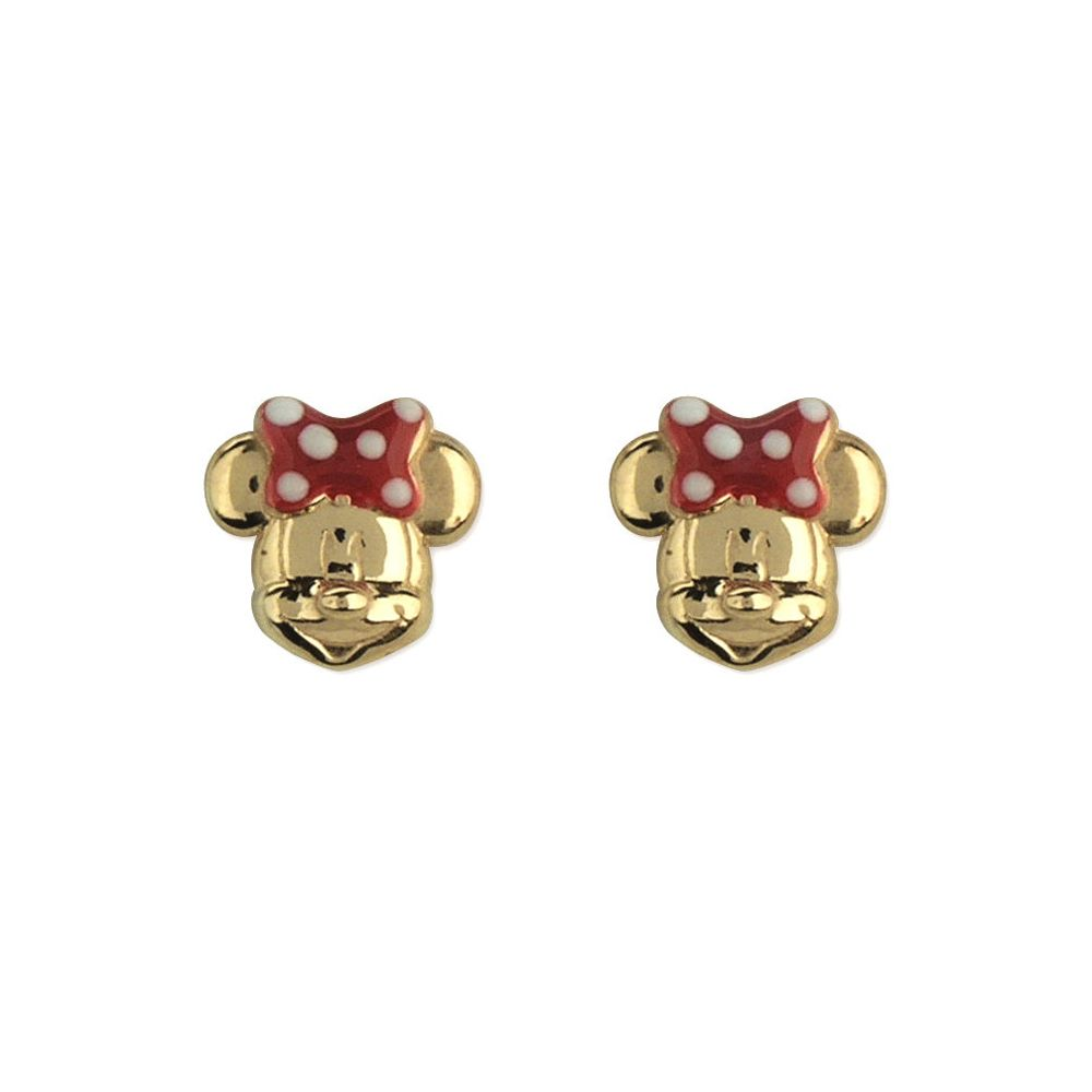 14kt Gold and Enamel Minnie Mouse Earrings