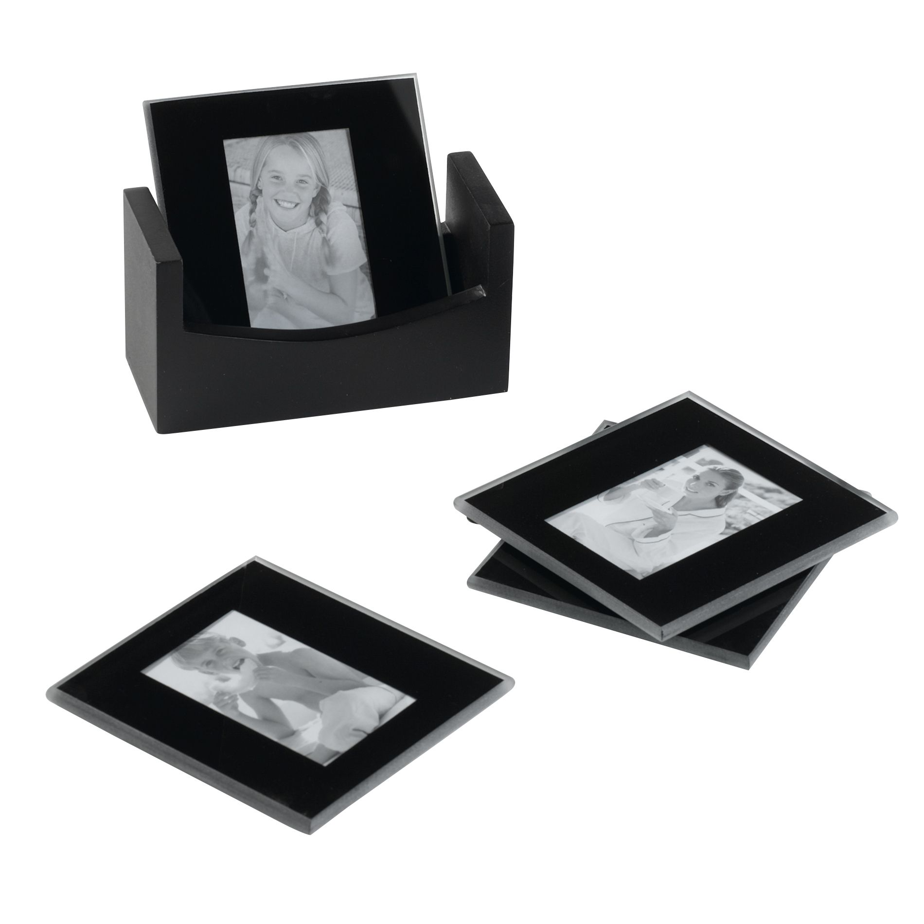 Set Of 4 Black Glass Coaster Frames - Home Decor Decorative Accents