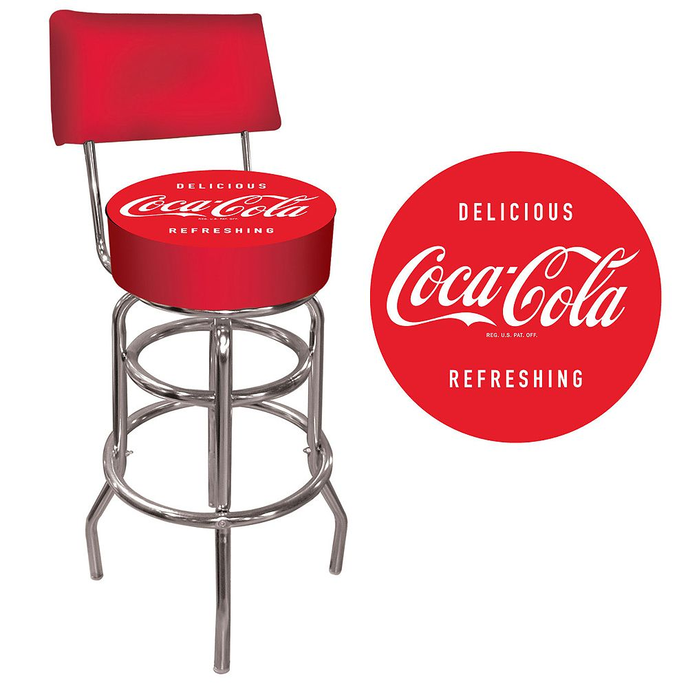 coca cola chairs and tables wood adirondack home depot table trademark pub stool w back