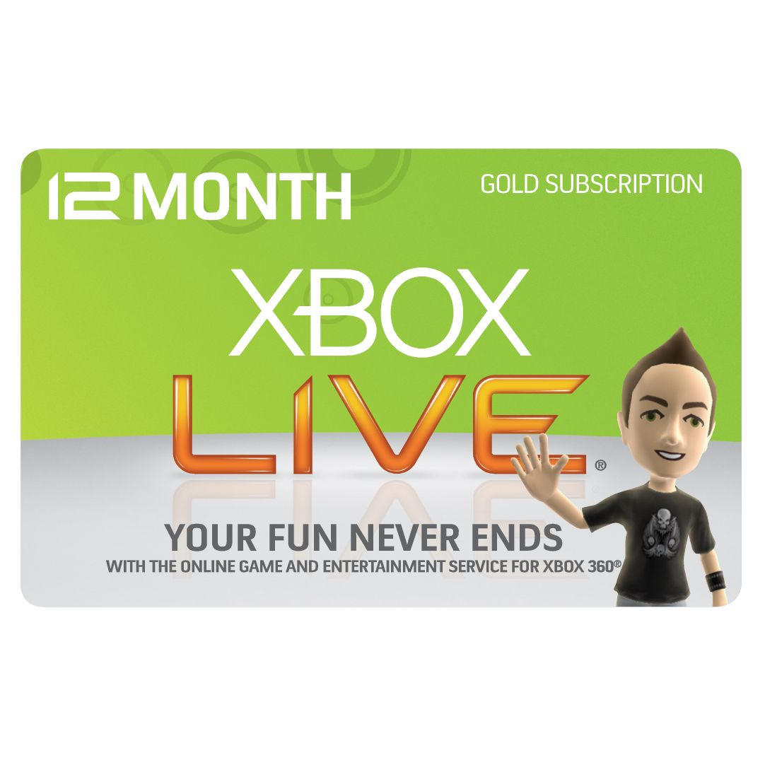 Microsoft Xbox 360 12 Month Xbox Live Gold Subscription