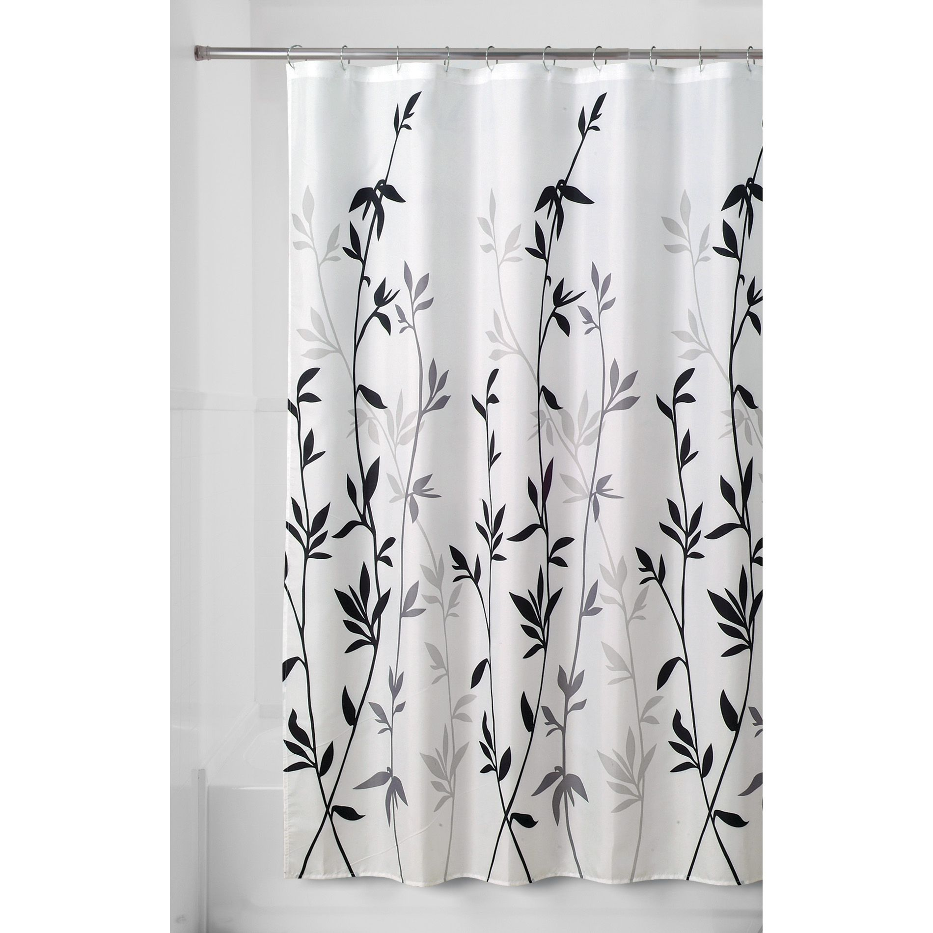 Essential Home Shower Curtain Bamboo Leaves Fabric Home