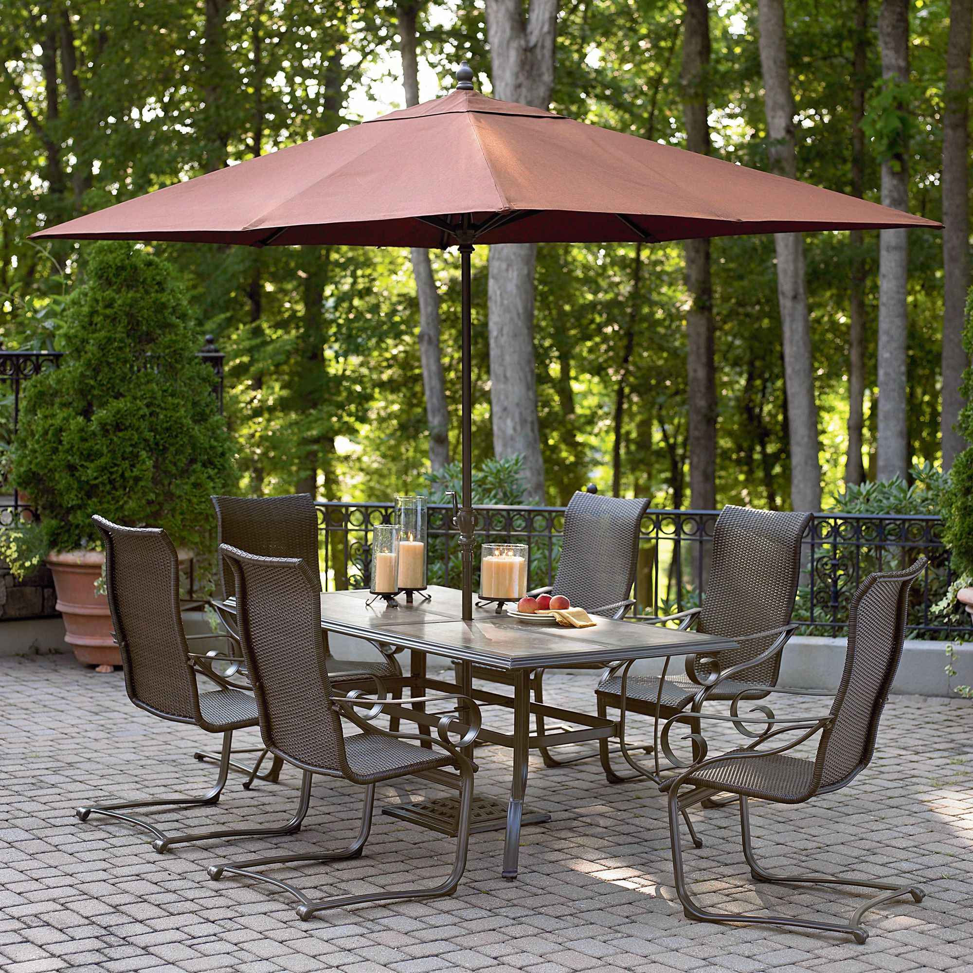 garden oasis patio chairs milo baughman thayer coggin chair rect umb essex 9 ft h umbrella sears