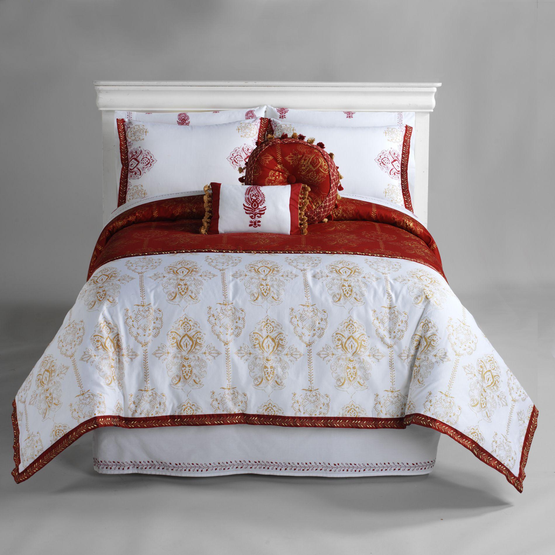 Jaclyn Smith Red Zanzibar Comforter Set