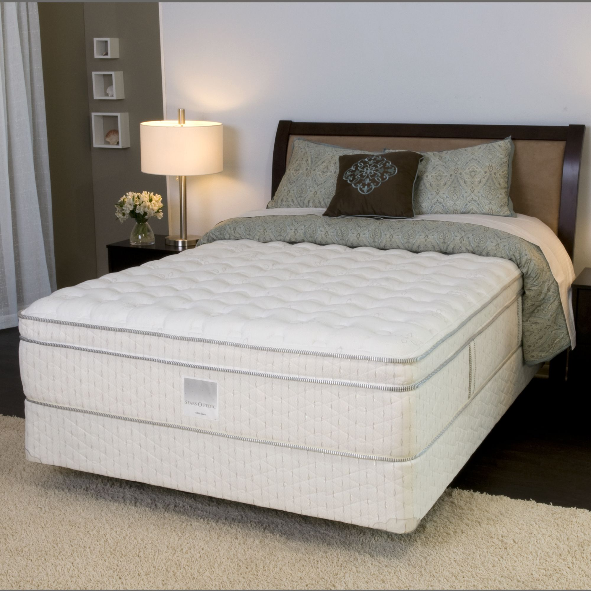 Sears O Pedic Queen Mattress Only White Linen II EuroTop Firm