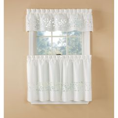 Kitchen Cafe Curtains Appliance Storage Tier Sears Essential Home White Lazer Cut Set