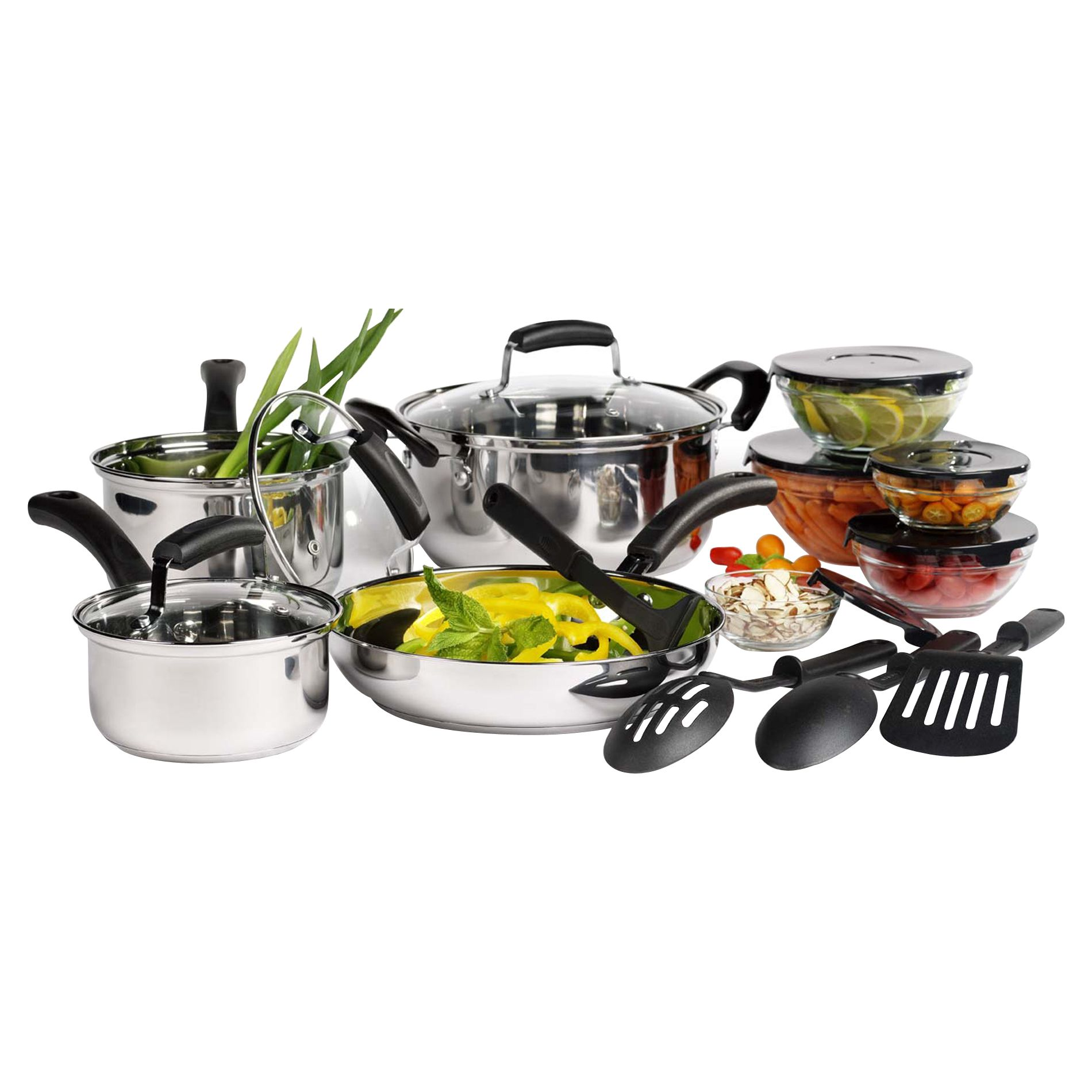 Basic Essentials 16pc Stainless Steel Cookware Set - Home