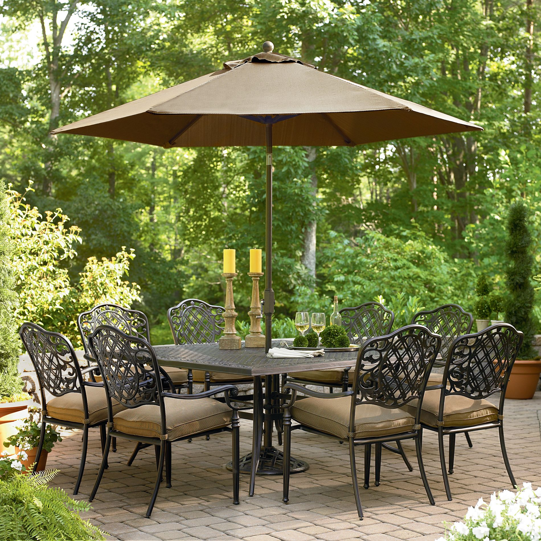 Arcadia 9 Pc. Dining Set Upscale Outdoor Ideas