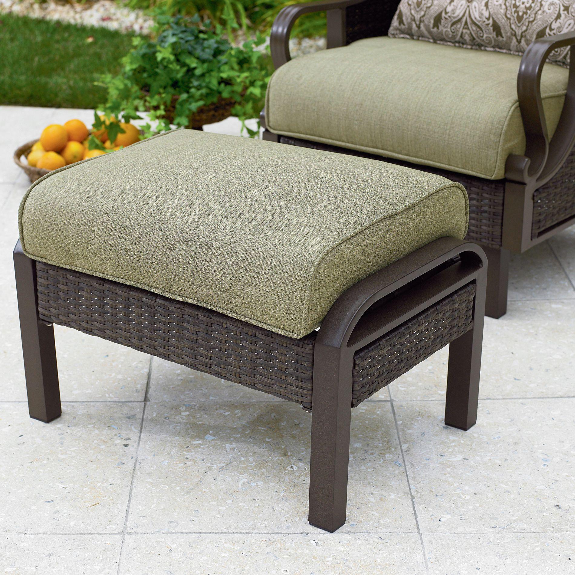 resin wicker chair with ottoman adirondack covers home depot la z boy peyton 2 pk sears
