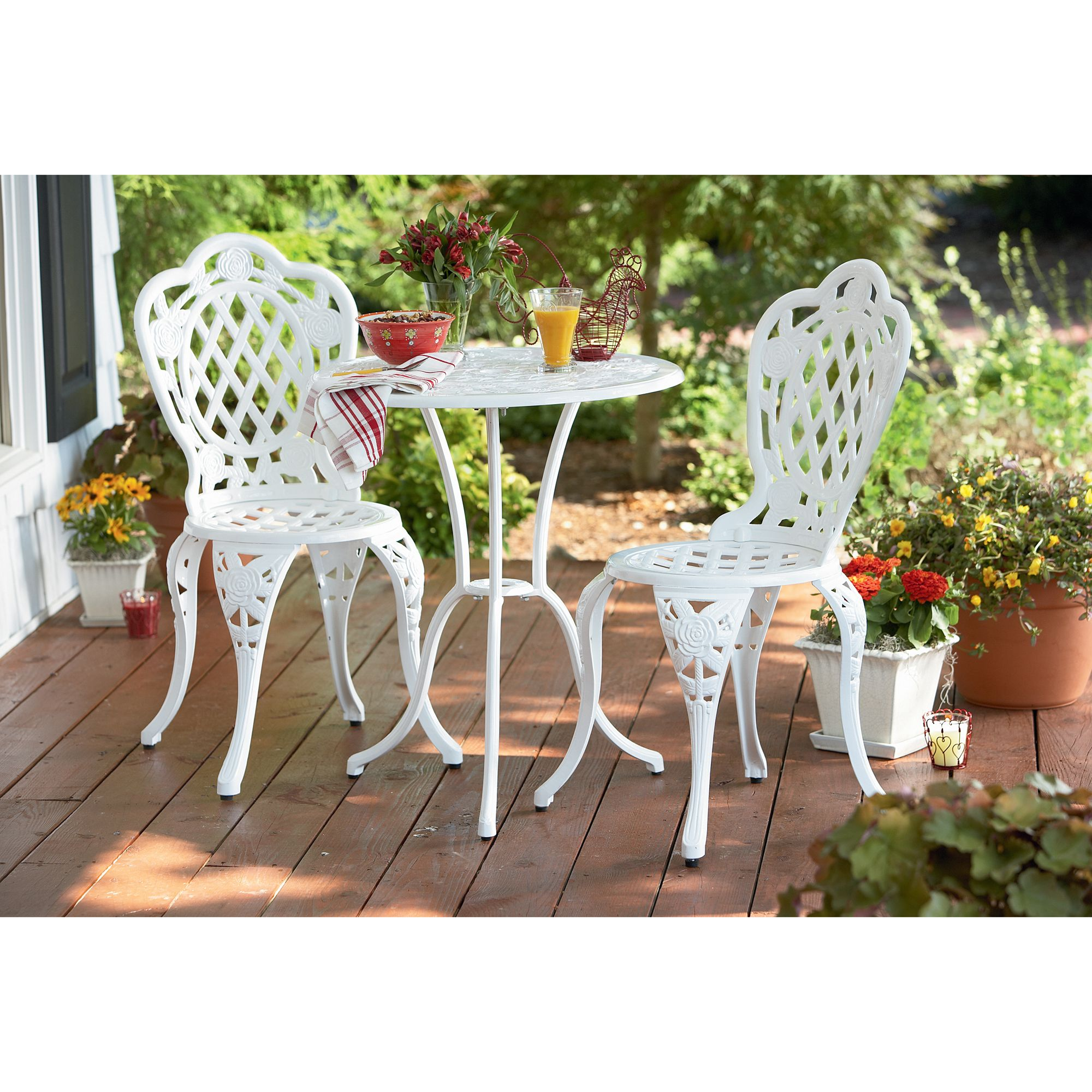 Cast Iron White Bistro Set
