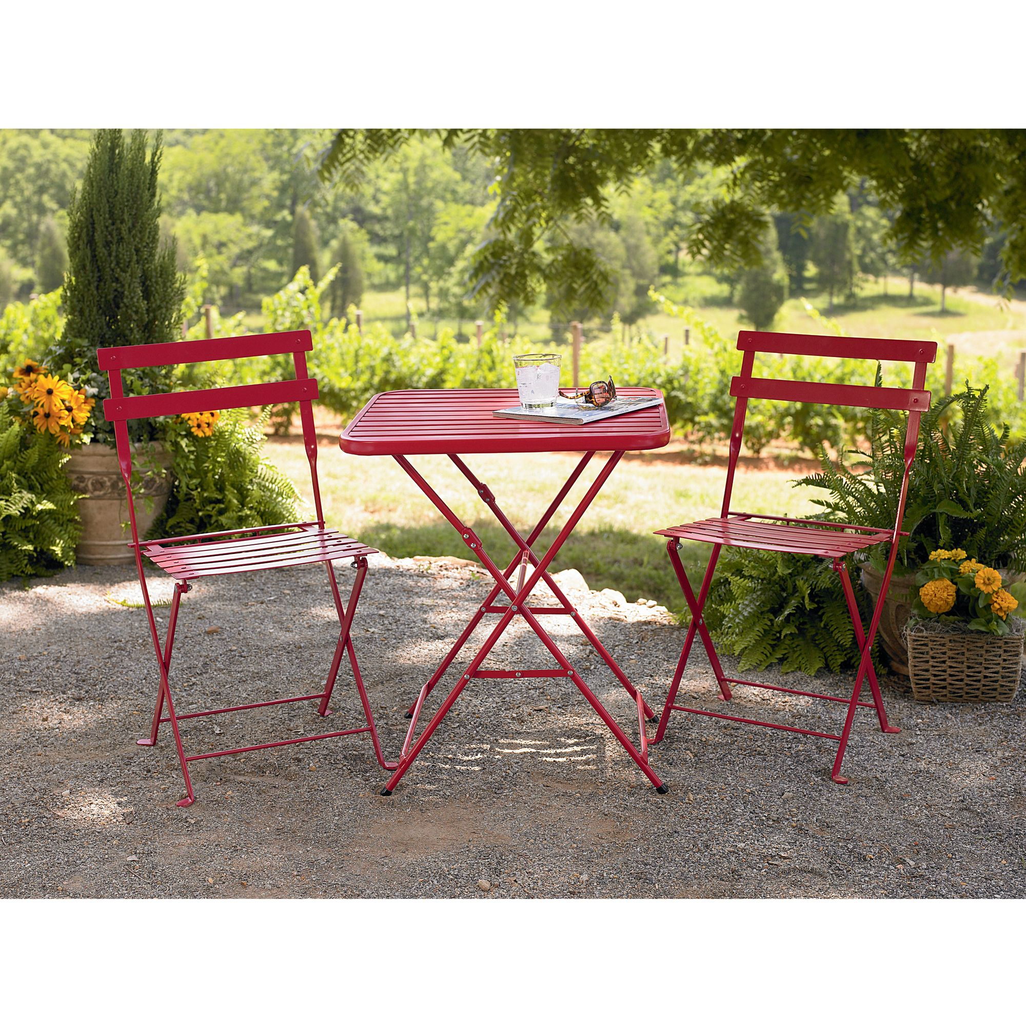 bistro table and chairs kmart wooden rifton chair garden oasis french steel red