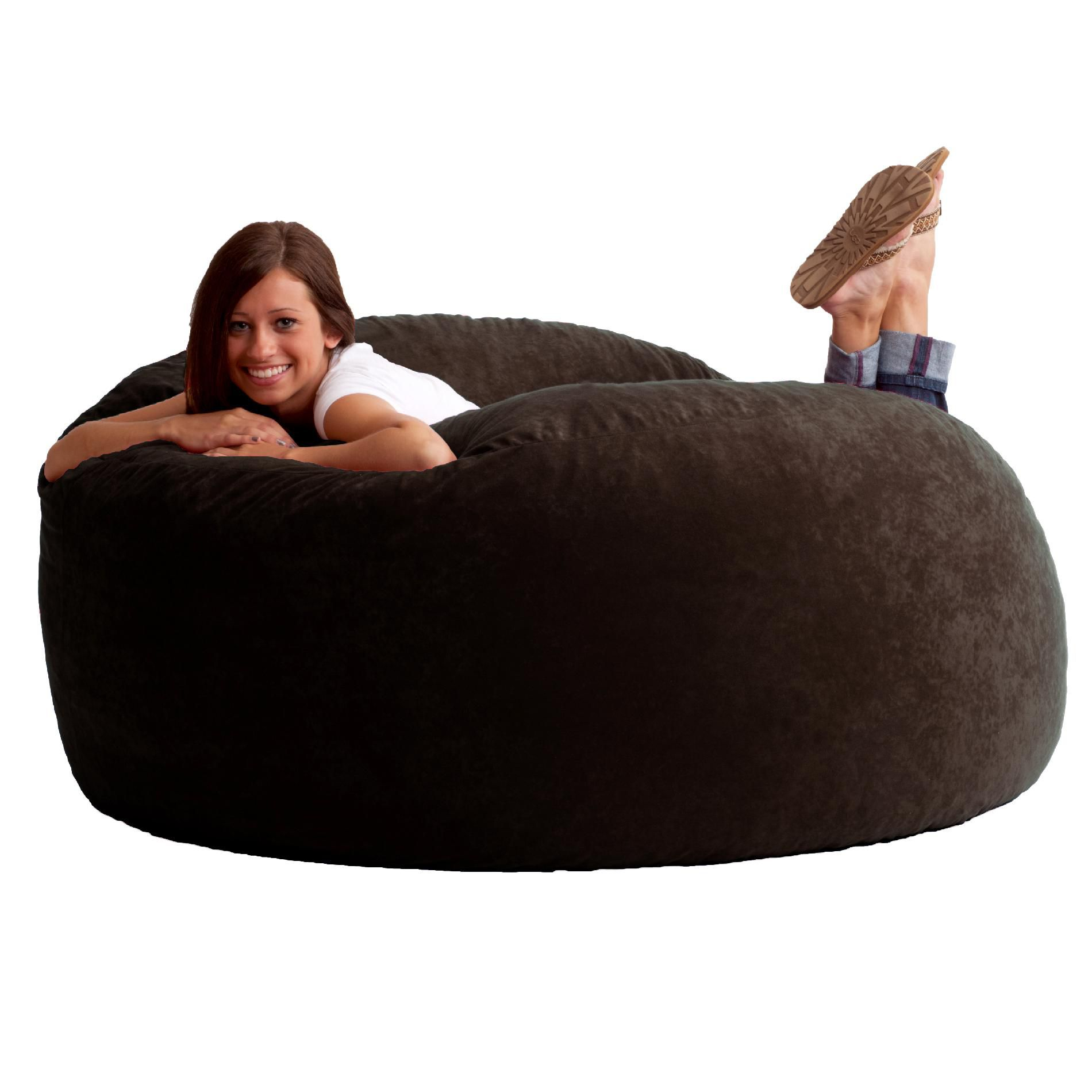 Comfort Research 5 King Fuf Bean Bag Chair in Black Onyx