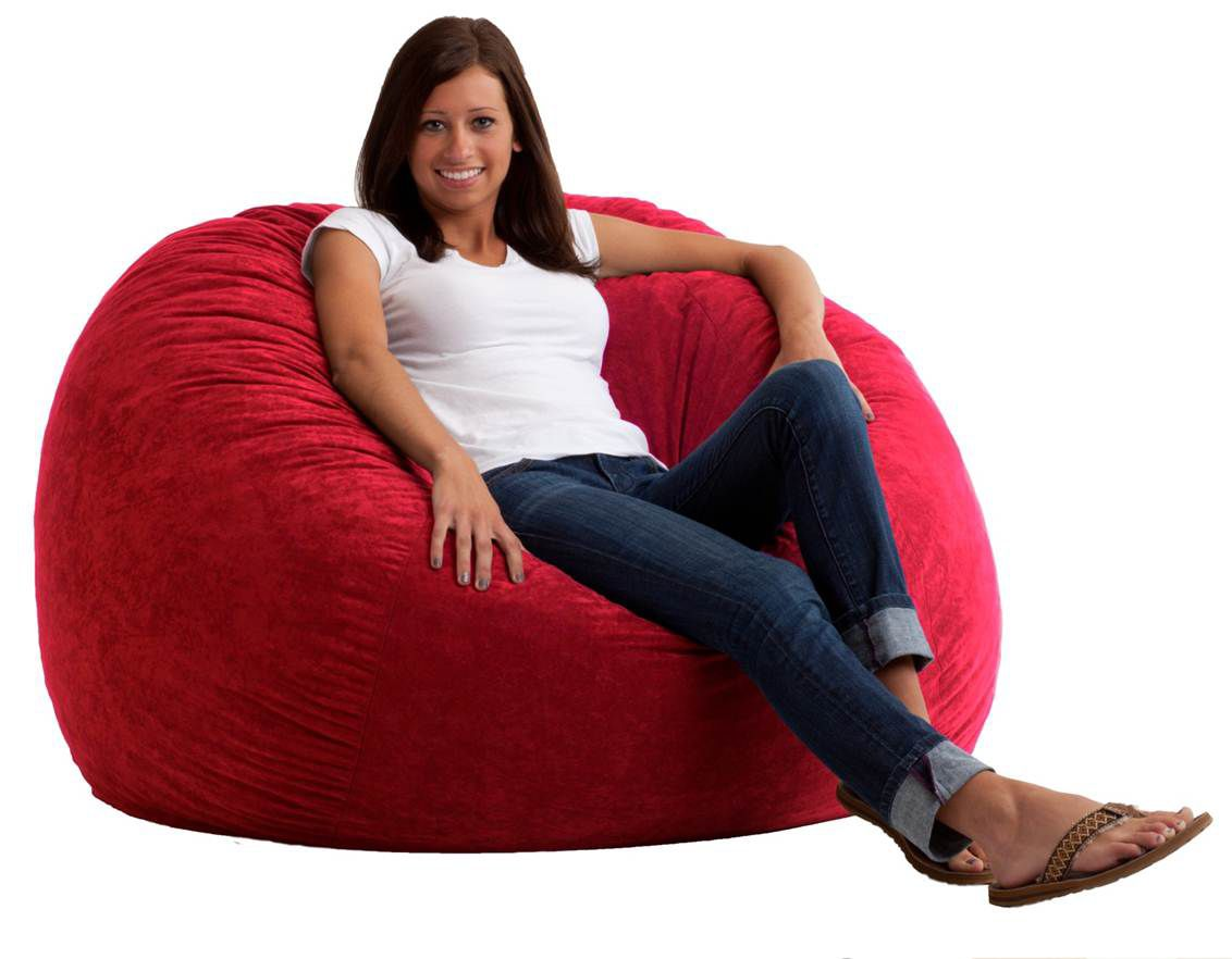 Comfort Research 4 Large Fuf Bean Bag Chair in Sierra Red
