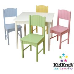 Kidkraft Table And Chairs High Chair Tray Cover Disposable Nantucket White Pastel