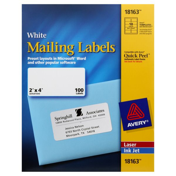 Avery 25720111 Mailing Labels 2 X 4 Inch White 100 Labels