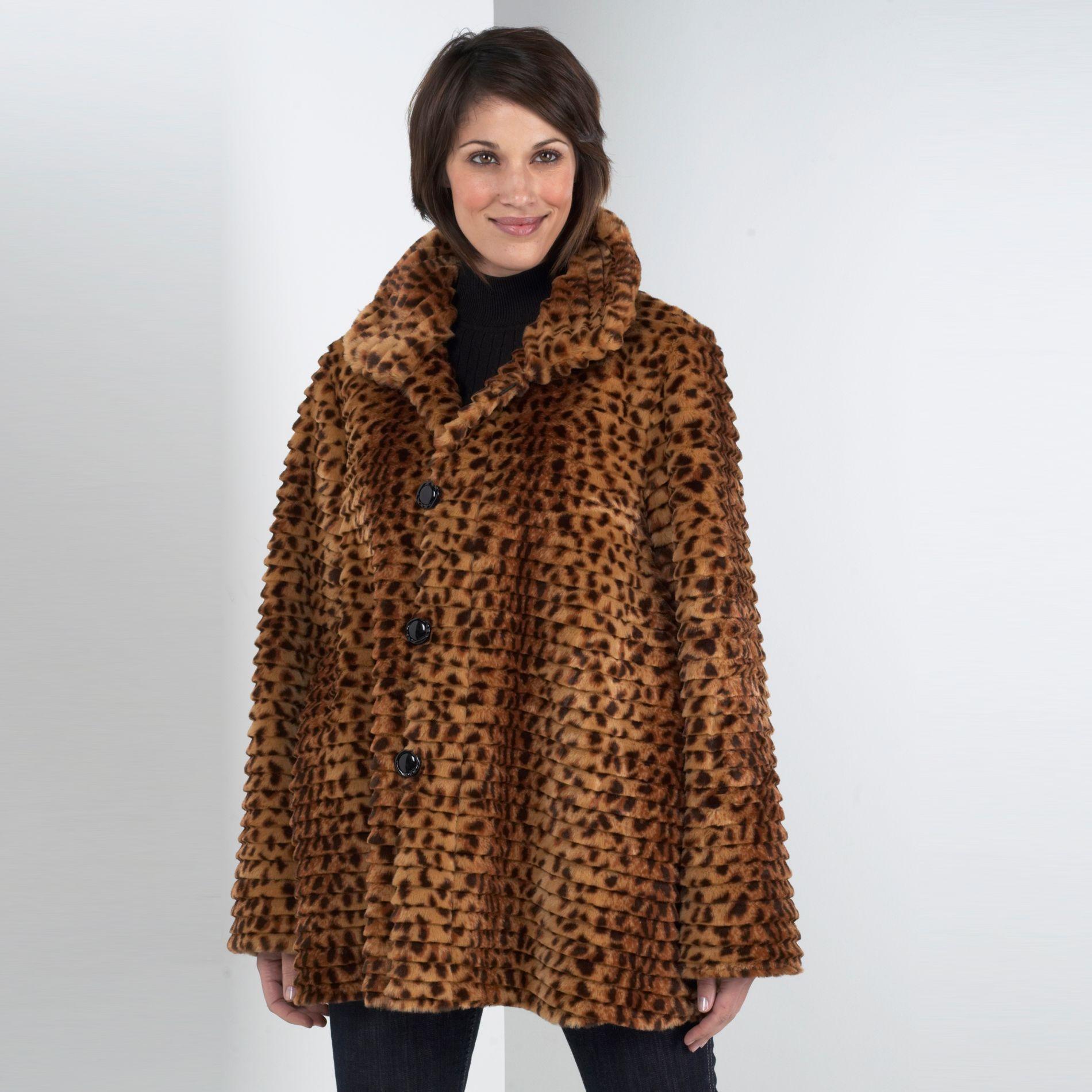 Sienna Studio Reversible Faux Leopard Print Coat