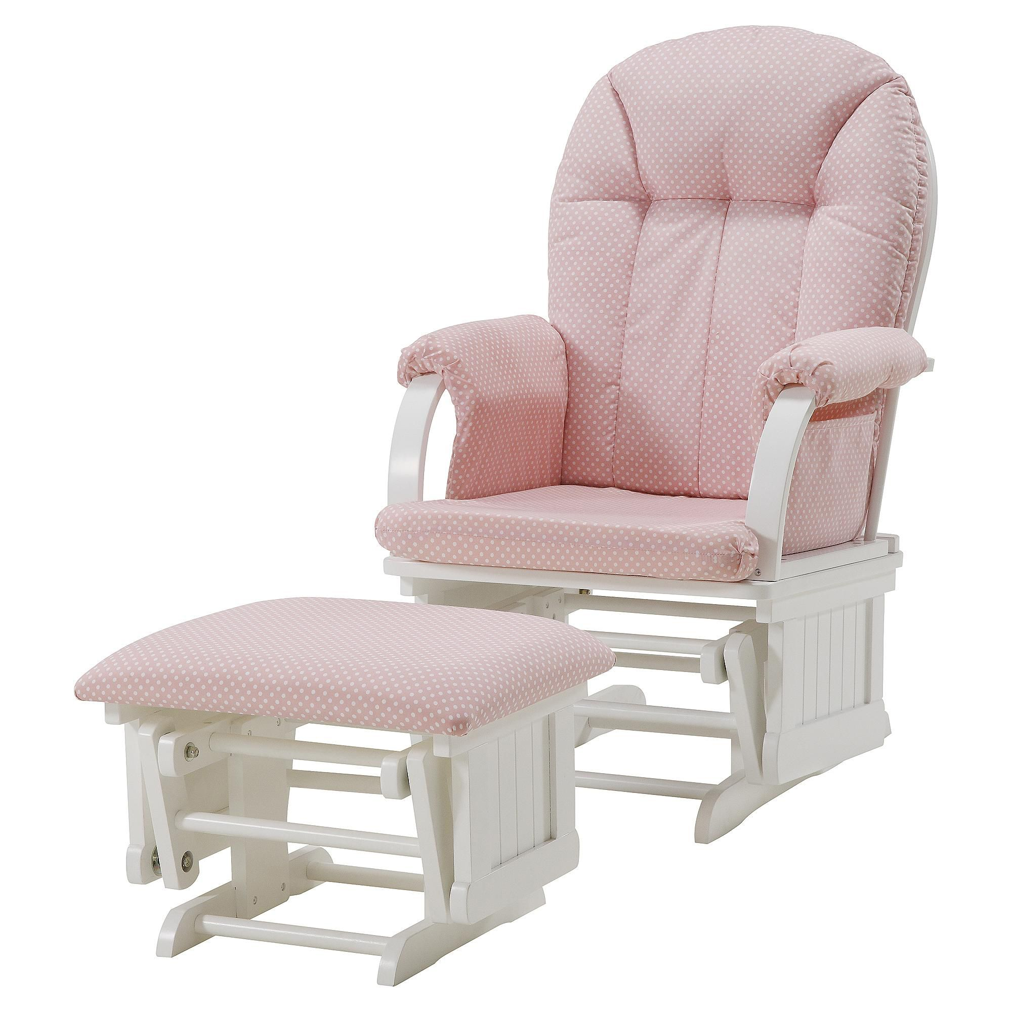 polka dot rocking chair cushions king throne manufacturers dorel cottage hill glider white with pink