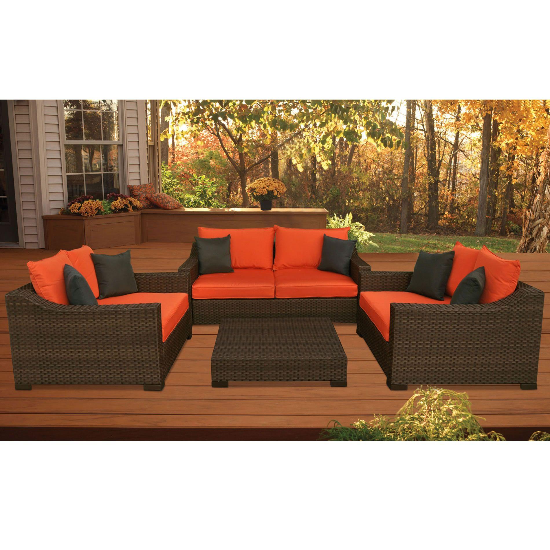 oxford 4 piece brown rattan effect sofa set bernhardt sofas discounted atlantic wellington synthetic wicker deep seating