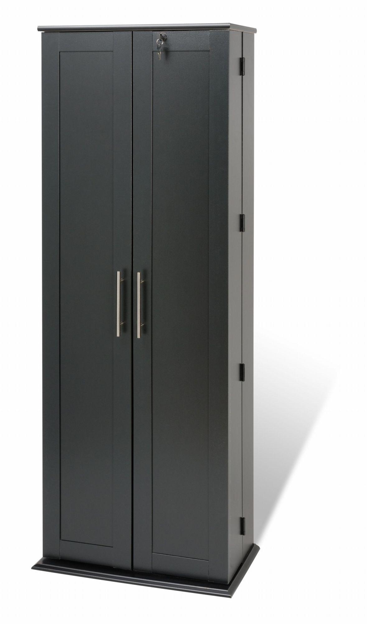 Prepac Black Grande Locking Media Storage Cabinet with