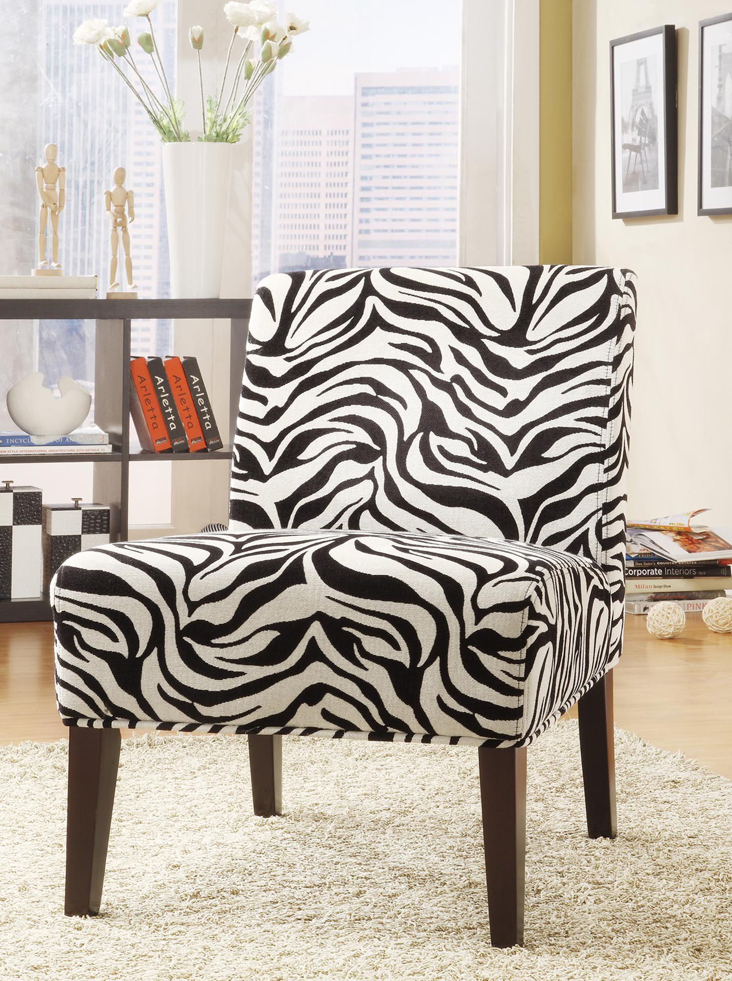 Zebra Accent Chair Oxford Creek Contemporary Accent Chair In Zebra Fabric