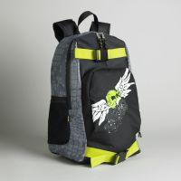 Fuel Boy's Skull Print Skate Backpack with Skateboard Holder