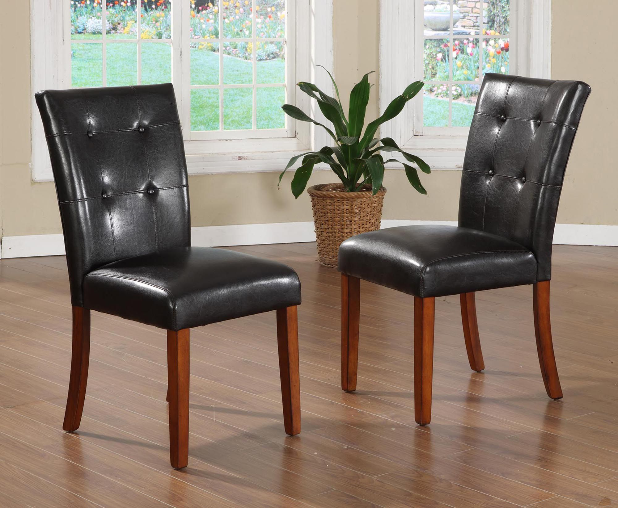 parson chairs pottery barn dining chair covers oxford creek faux tufted leather set of 2