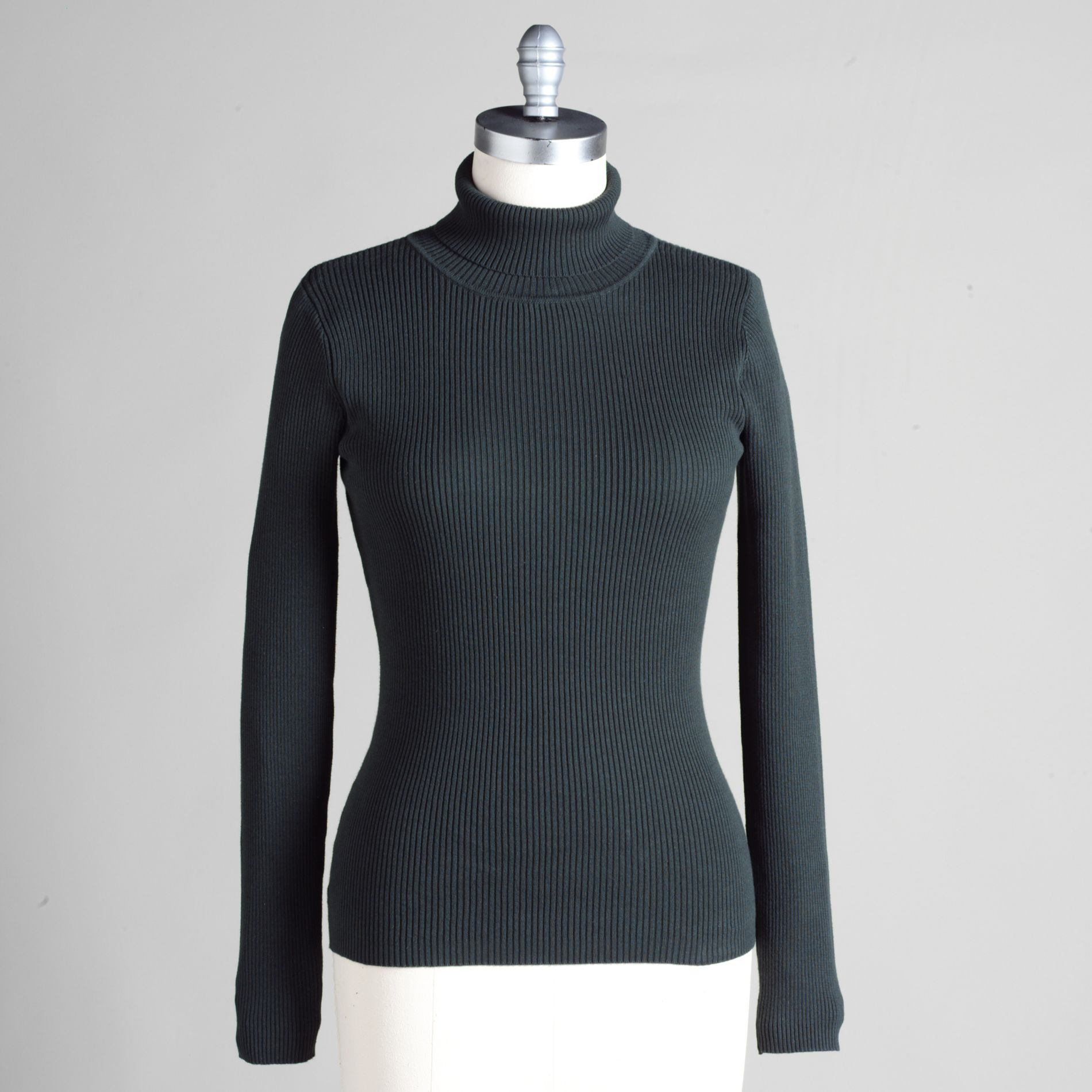 Basic Editions Women' 100 Cotton Turtleneck Rib Solid Sweater