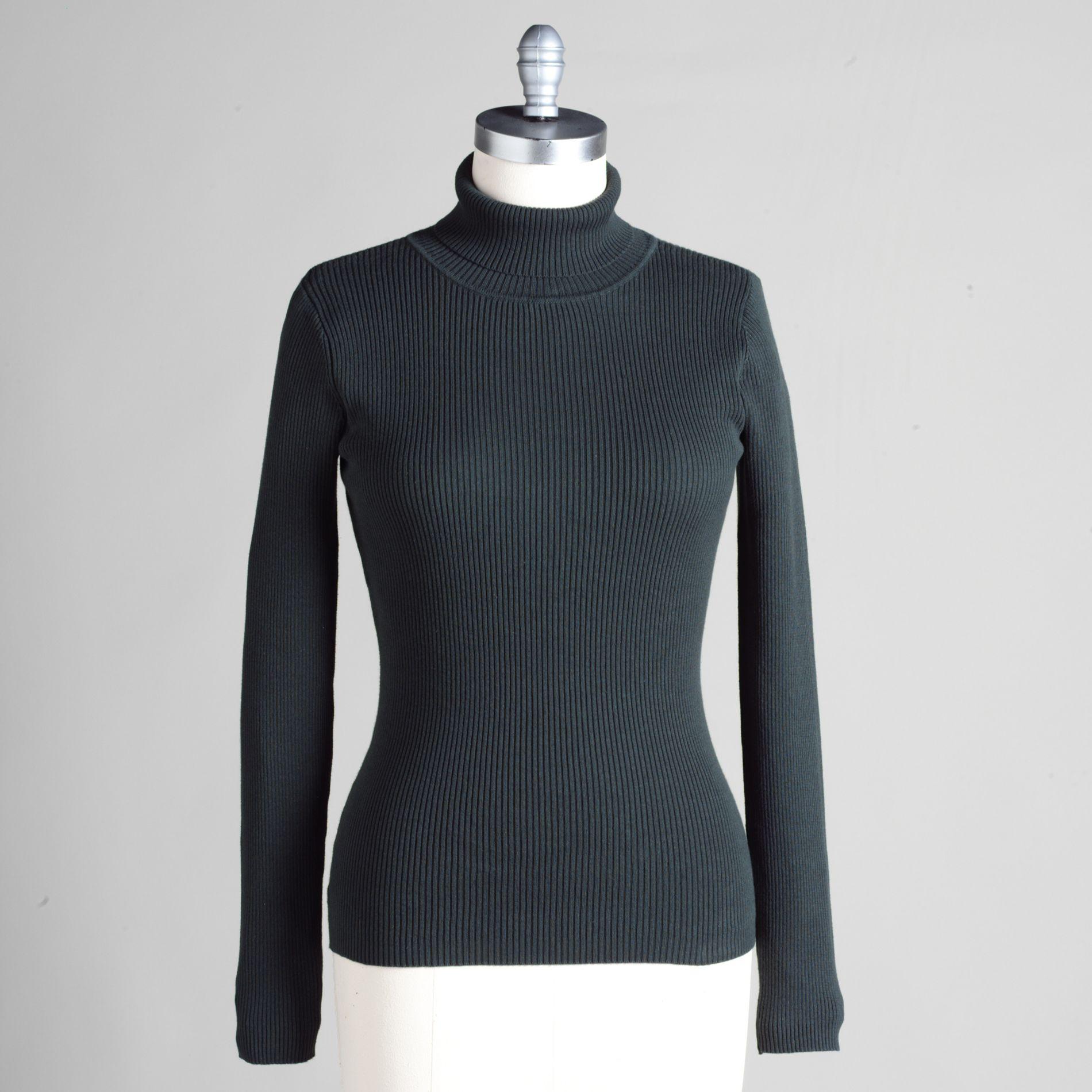 Basic Editions Women' 100 Cotton Turtleneck Rib Solid Sweater