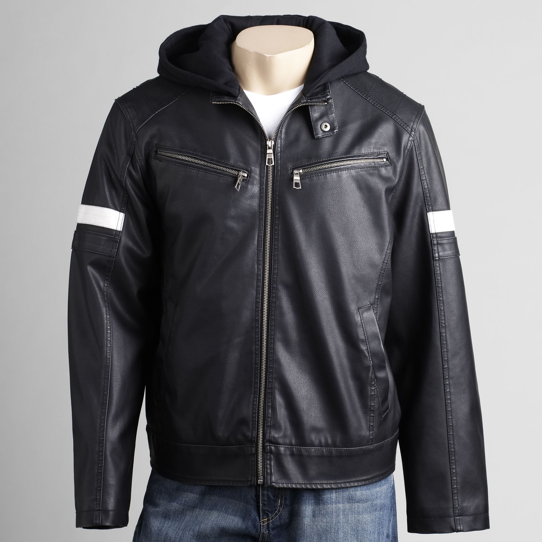 Whispering Smith Mens Faux Leather Jacket With Hood