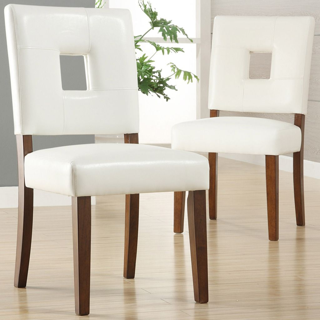 White Leather Dining Room Chairs Oxford Creek Dining Chairs In White Faux Leather Set Of 2