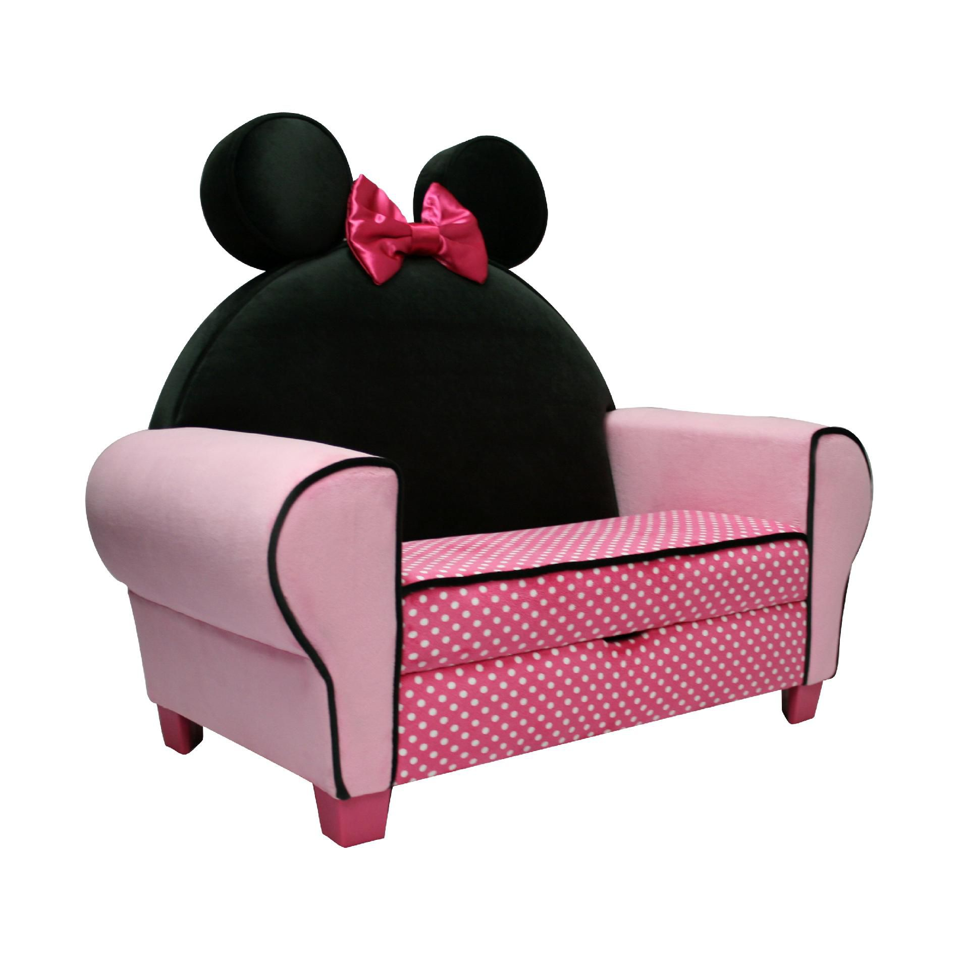 minnie mouse upholstered chair covers and more norfolk delta children disney icon chaise lounge with seat storage