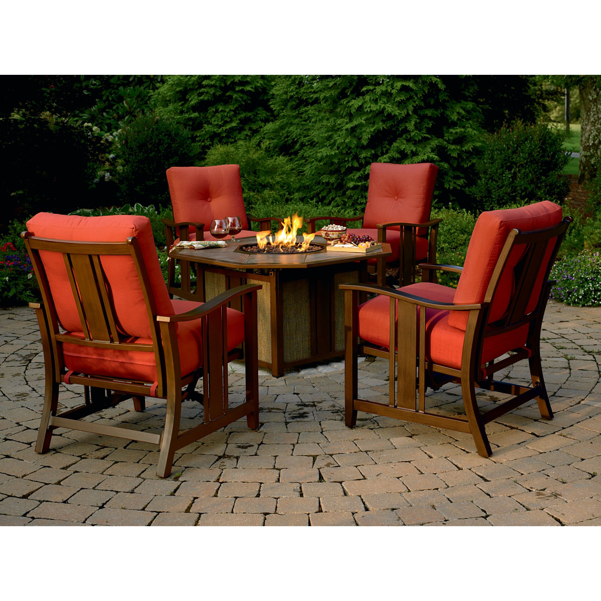 Patio with Fire Pit Chat Set