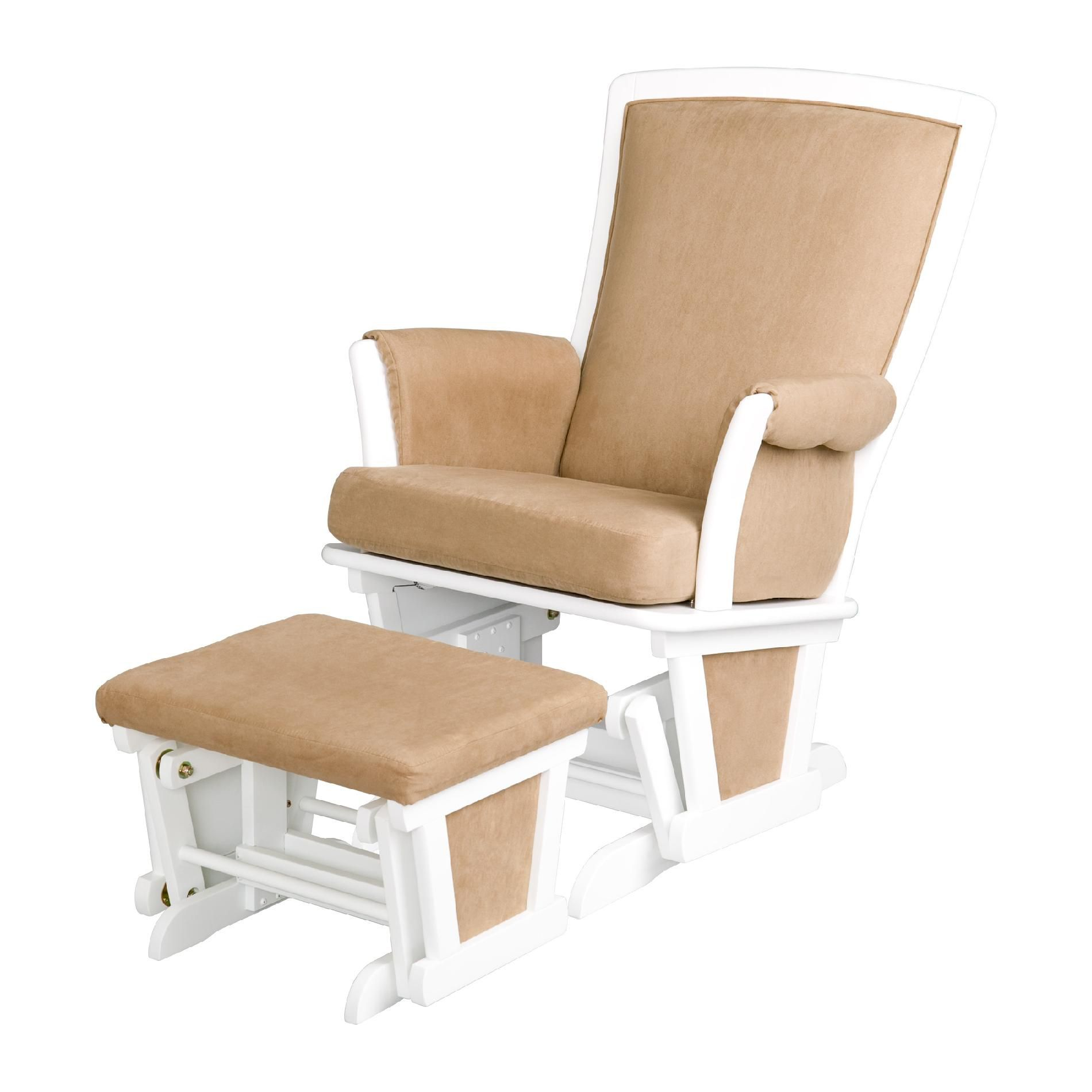 glider recliner chair with ottoman covers hire wedding delta children white baby