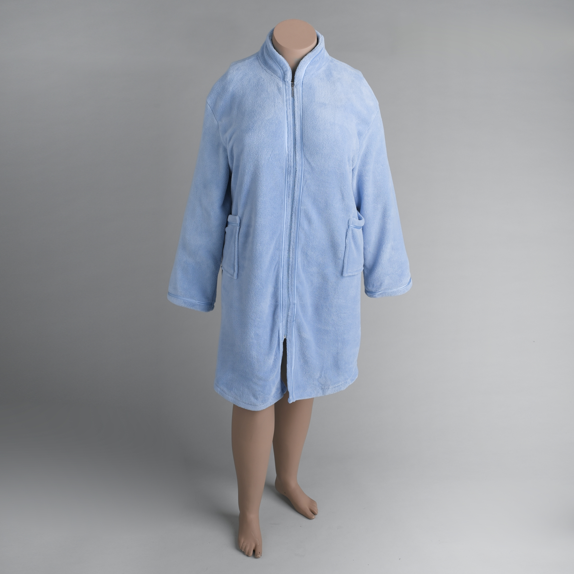Zip Front Fleece Robe for Women