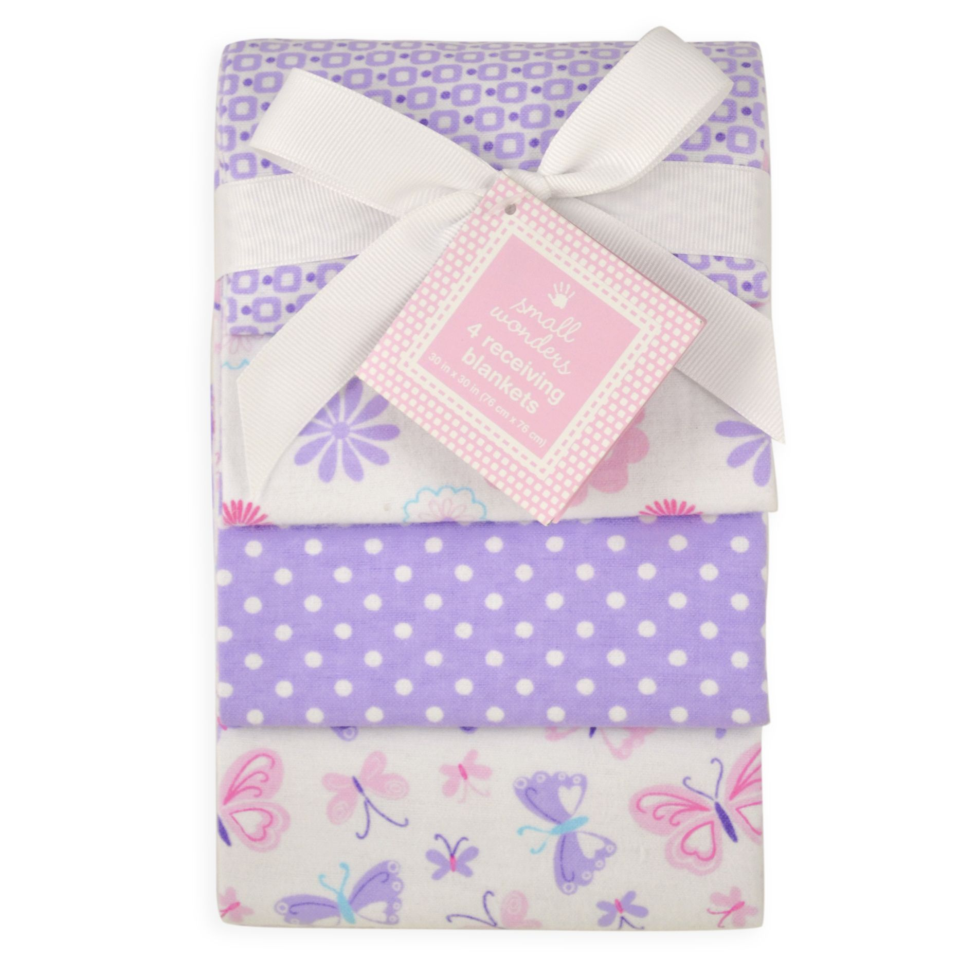 Small Wonders Baby Girl 4 Pack Receiving Blankets