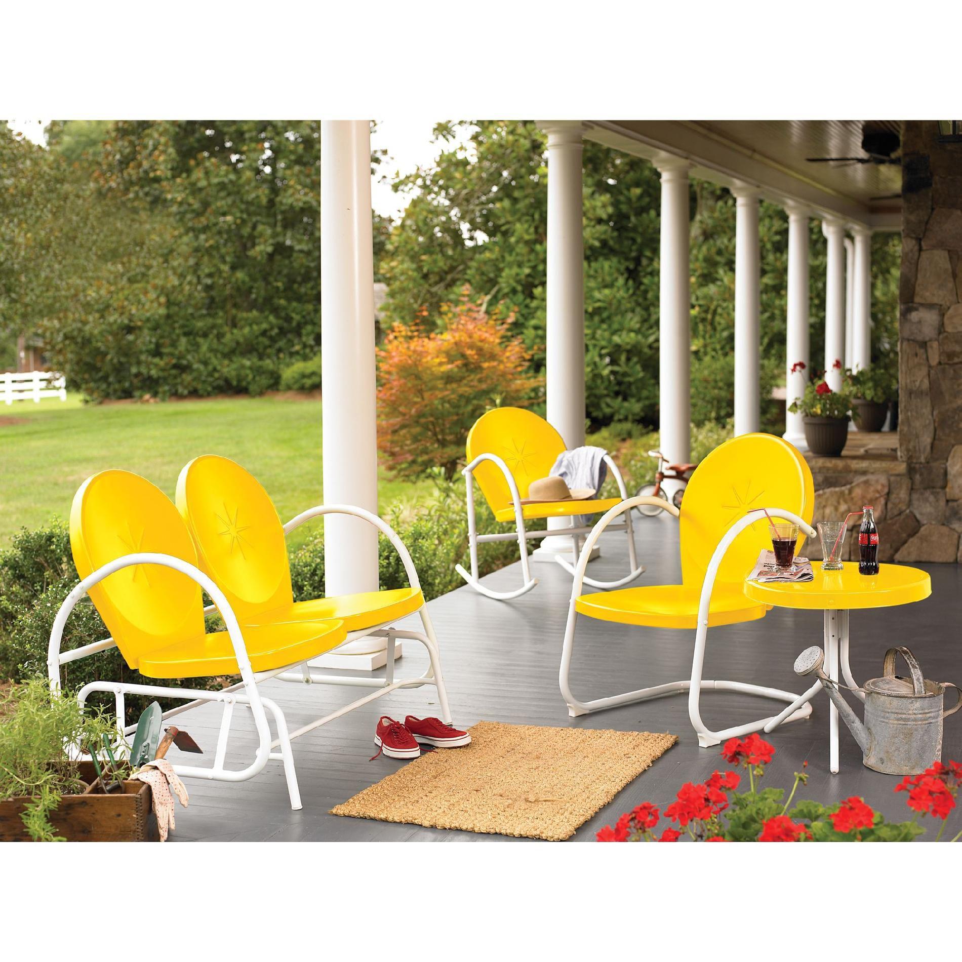 Garden Oasis Retro Steel Clam Chair - Yellow